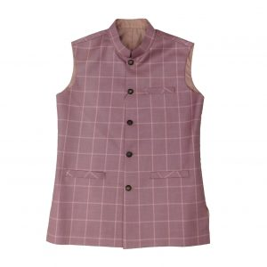 Pink Check Waist Coat