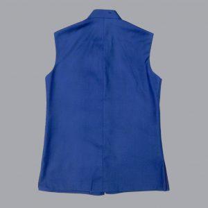 blue plain waistcoat
