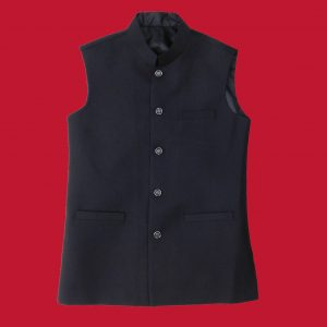 Black Check Waist Coat
