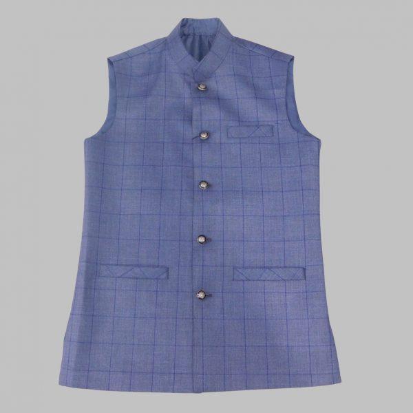 Blue Check Waist Coat