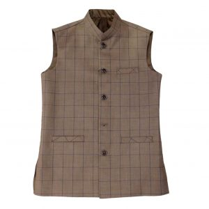 Brown Check Waist Coat