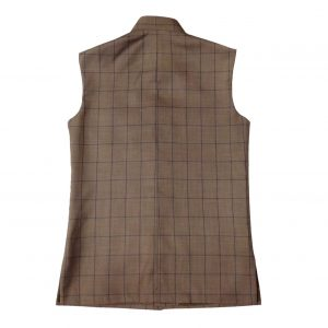Brown Check Waist Coat for men