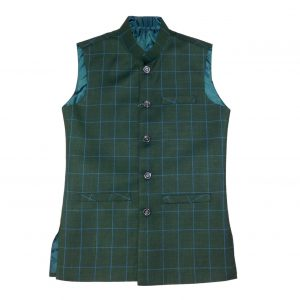 Green Check Waist Coat for men