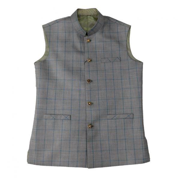 Grey Check Waist Coat