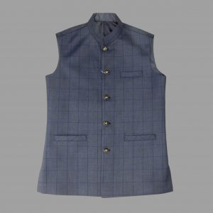 Light Blue Check Waist Coat