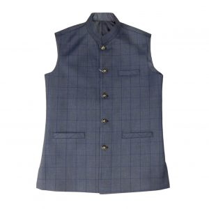 Light Blue Check Waist Coat for men