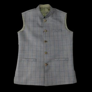 Light Grey Check Waist Coat men