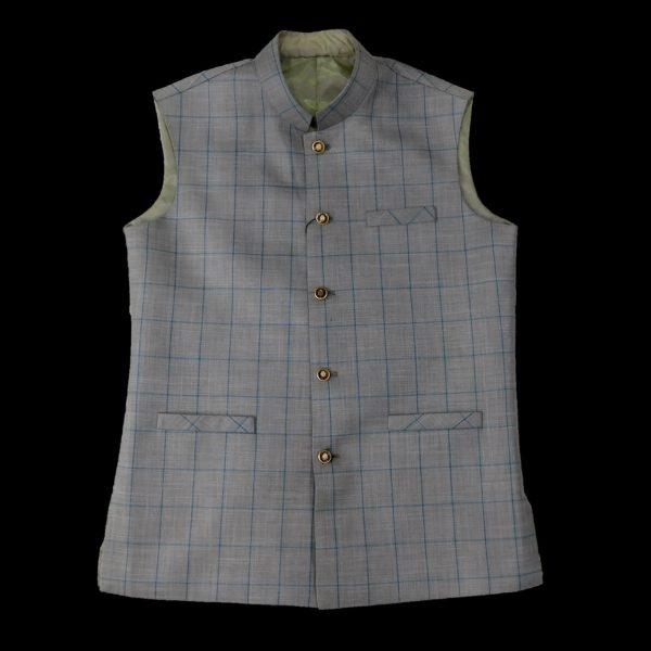 Light Grey Check Waist Coat men
