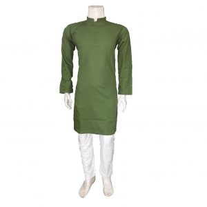 Plain Cotton Kurta in Green