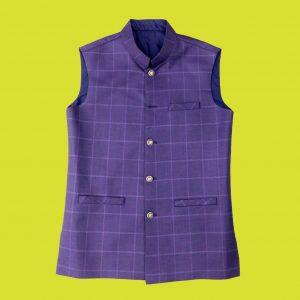 Purple Check WaistCoat