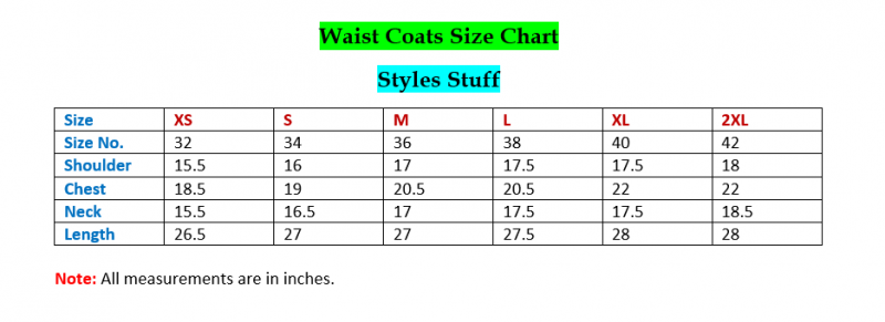 wait coat size chart